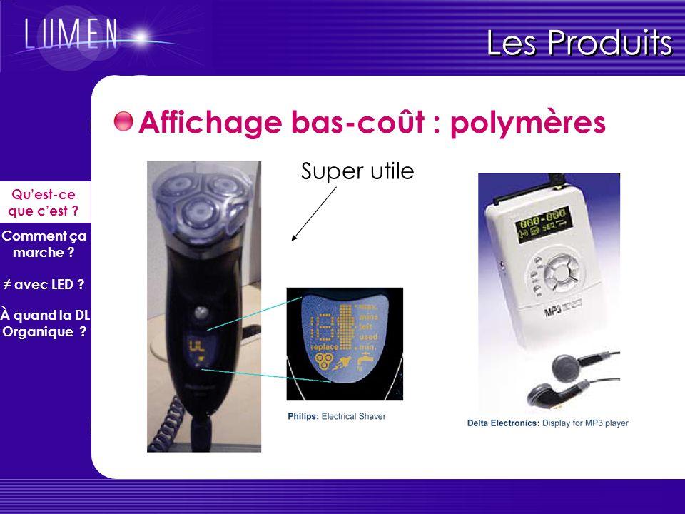 Les Produits Affichage bas-coût : polymères Super utile
