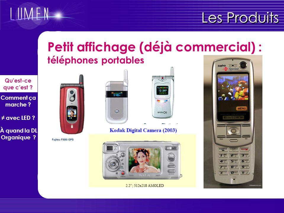 Les Produits Petit affichage (déjà commercial) : téléphones portables