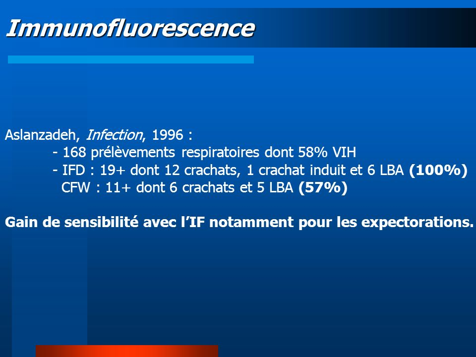 Immunofluorescence Aslanzadeh, Infection, 1996 :