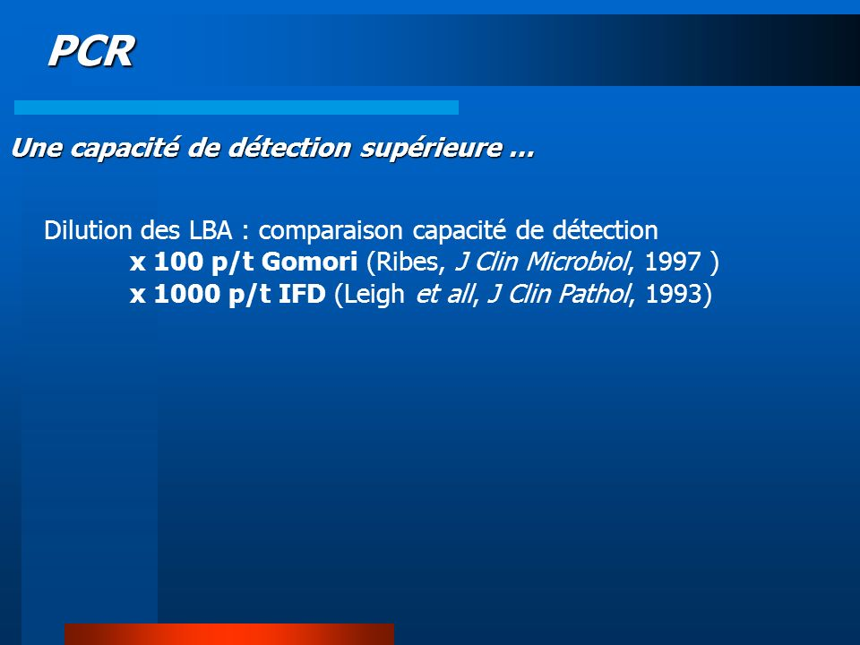PCR Une capacité de détection supérieure …