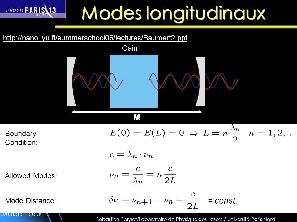 Modes longitudinaux = const.