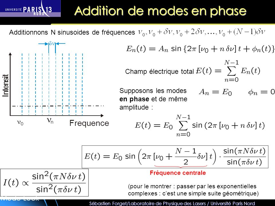 Addition de modes en phase