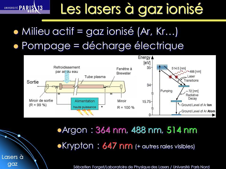 Les lasers à gaz ionisé Milieu actif = gaz ionisé (Ar, Kr…)