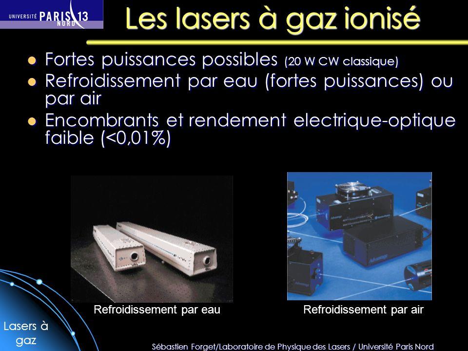 Les lasers à gaz ionisé Fortes puissances possibles (20 W CW classique) Refroidissement par eau (fortes puissances) ou par air.