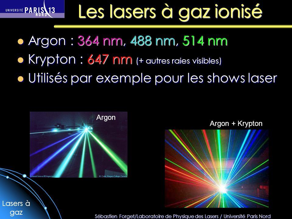 Les lasers à gaz ionisé Argon : 364 nm, 488 nm, 514 nm