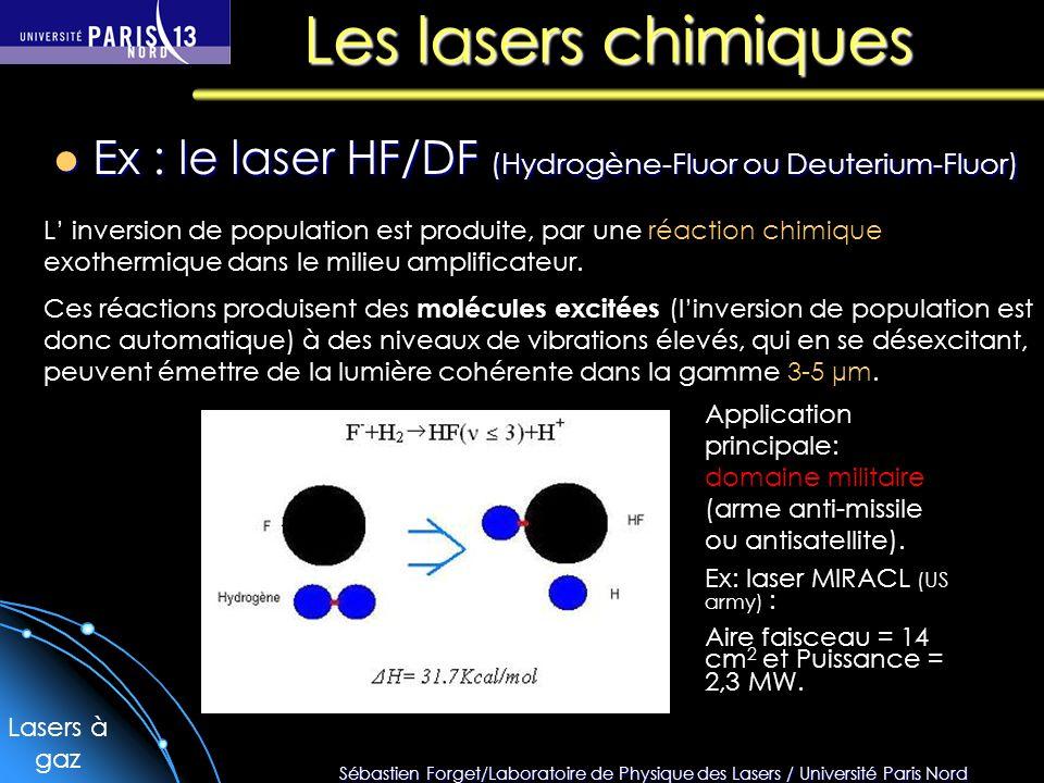 Les lasers chimiques Ex : le laser HF/DF (Hydrogène-Fluor ou Deuterium-Fluor)