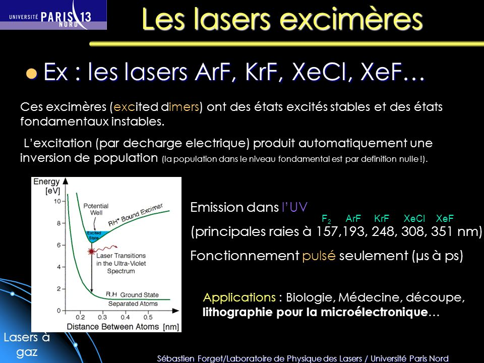 Les lasers excimères Ex : les lasers ArF, KrF, XeCl, XeF…
