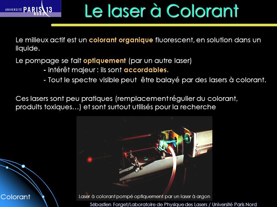 Le laser à Colorant Le milieux actif est un colorant organique fluorescent, en solution dans un liquide.
