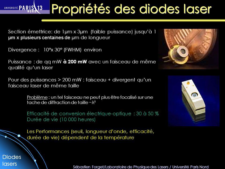 Propriétés des diodes laser