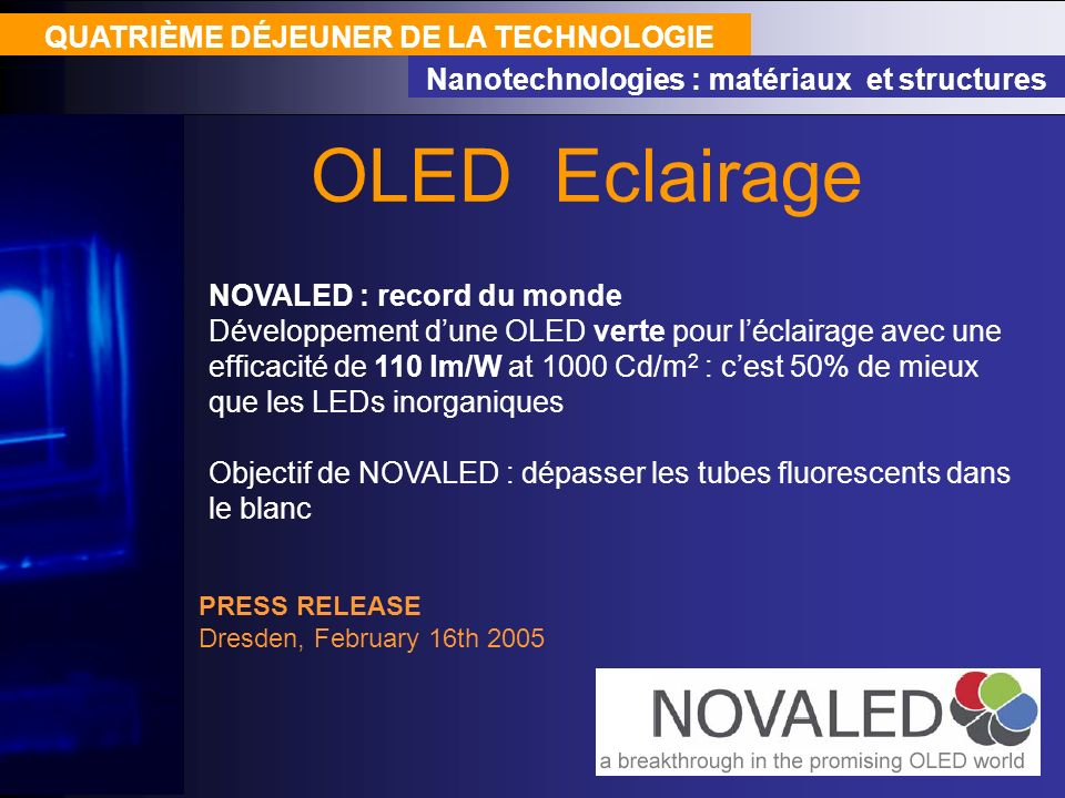 OLED Eclairage QUATRIÈME DÉJEUNER DE LA TECHNOLOGIE