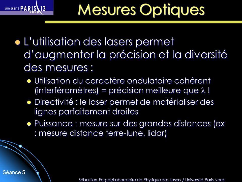 Mesures Optiques L'utilisation des lasers permet d'augmenter la précision et la diversité des mesures :