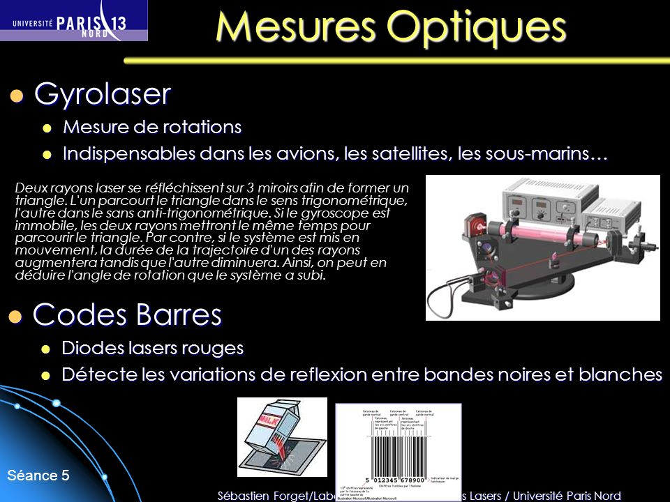 Mesures Optiques Gyrolaser Codes Barres Mesure de rotations