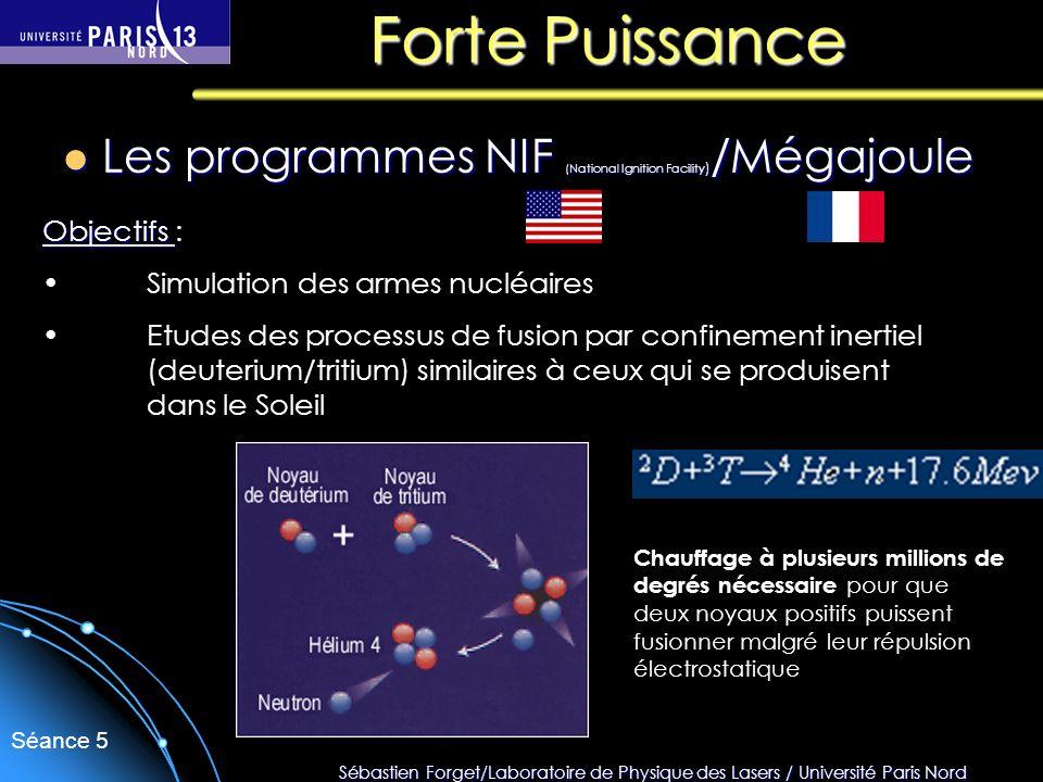 Forte Puissance Les programmes NIF (National Ignition Facility)/Mégajoule. Objectifs : Simulation des armes nucléaires.