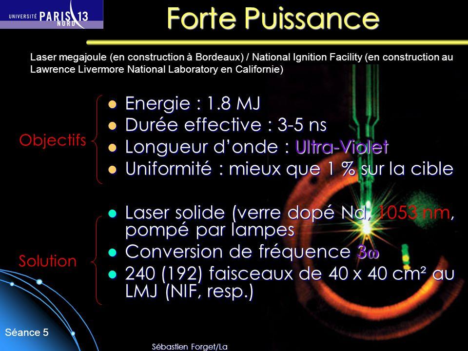 Forte Puissance Energie : 1.8 MJ Durée effective : 3-5 ns