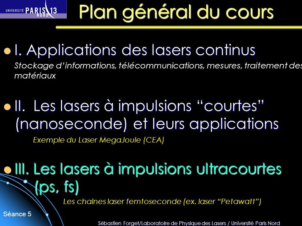 Plan général du cours I. Applications des lasers continus