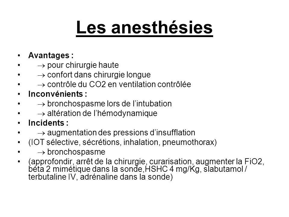 Les anesthésies Avantages :  pour chirurgie haute