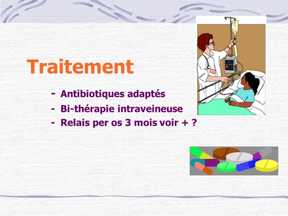 Traitement - Antibiotiques adaptés - Bi-thérapie intraveineuse