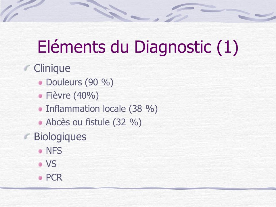 Eléments du Diagnostic (1)