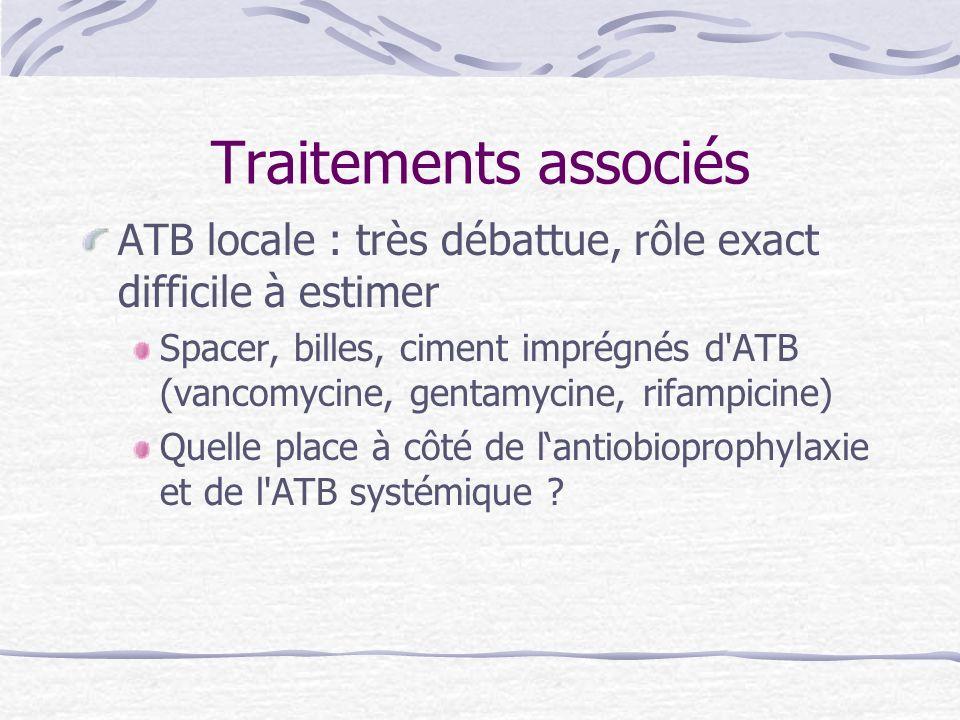 Traitements associés ATB locale : très débattue, rôle exact difficile à estimer.