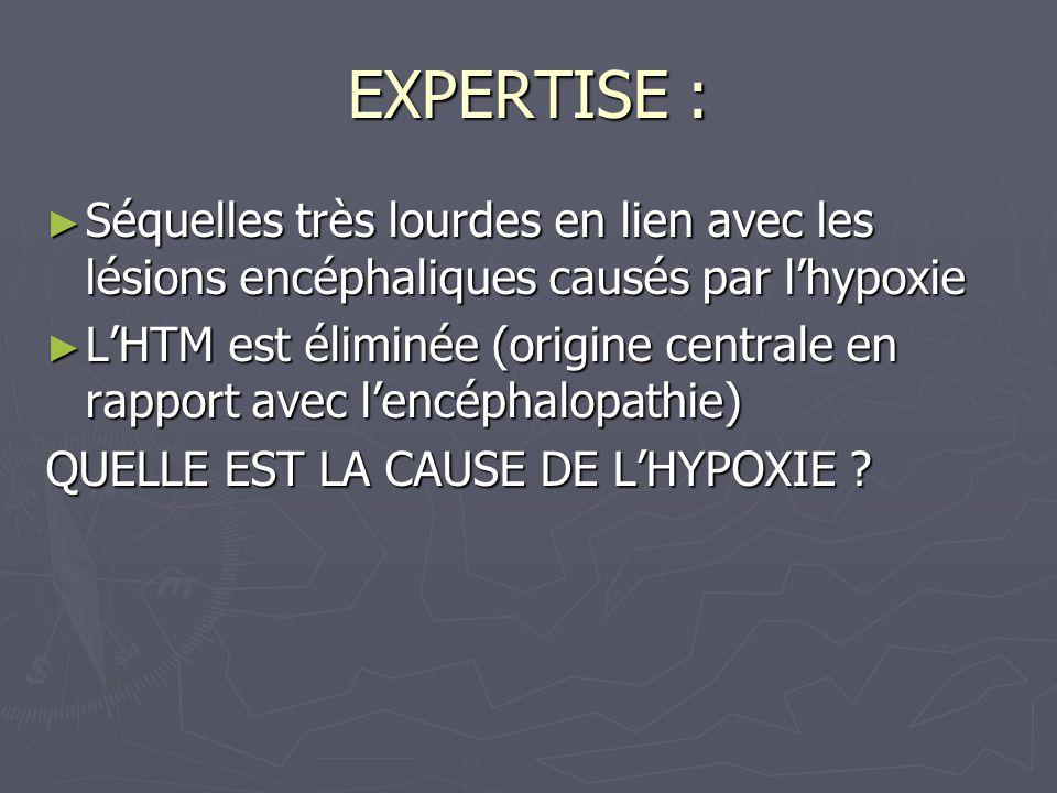 EXPERTISE :Séquelles très lourdes en lien avec les lésions encéphaliques causés par l'hypoxie.