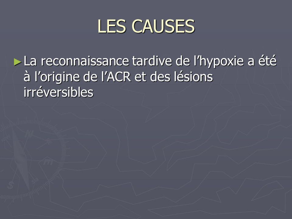 LES CAUSES La reconnaissance tardive de l'hypoxie a été à l'origine de l'ACR et des lésions irréversibles.