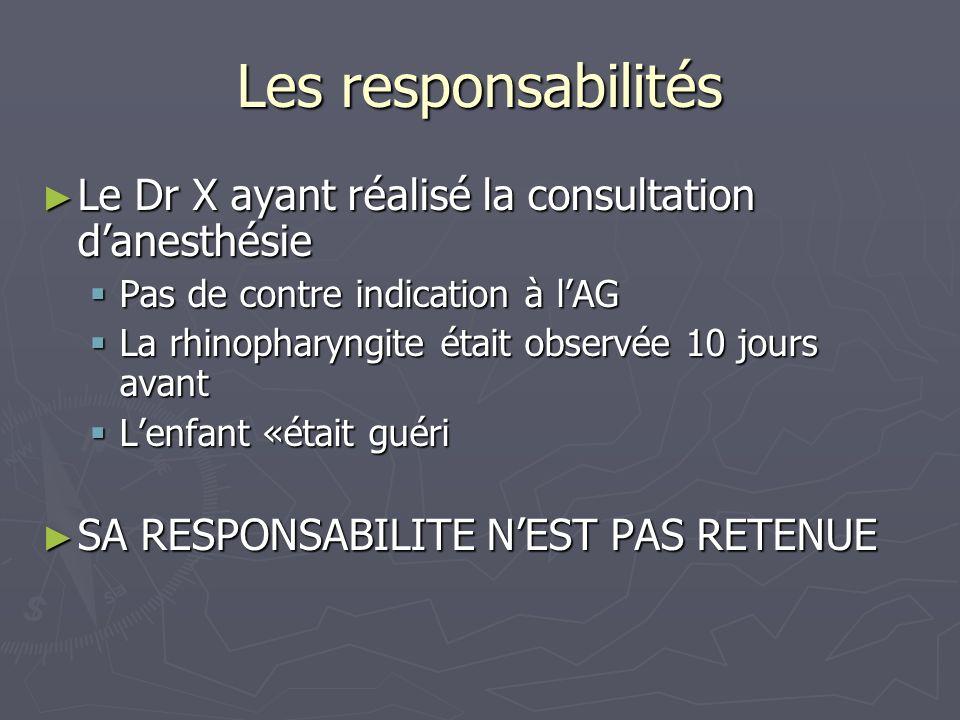 Les responsabilités Le Dr X ayant réalisé la consultation d'anesthésie