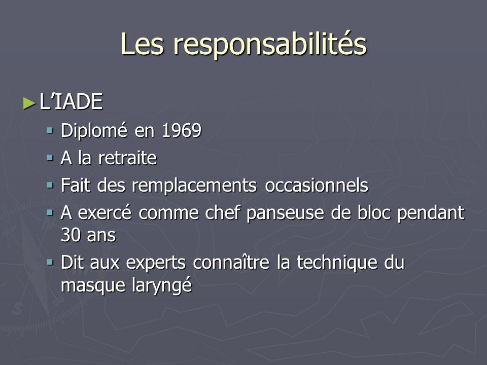 Les responsabilités L'IADE Diplomé en 1969 A la retraite