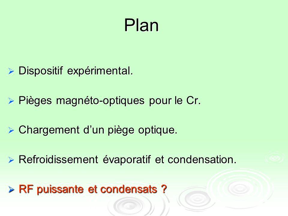 Plan Dispositif expérimental. Pièges magnéto-optiques pour le Cr.
