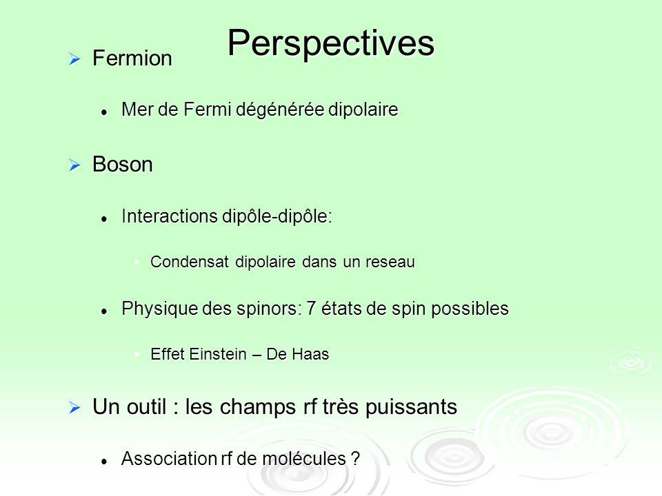 Perspectives Fermion Boson Un outil : les champs rf très puissants