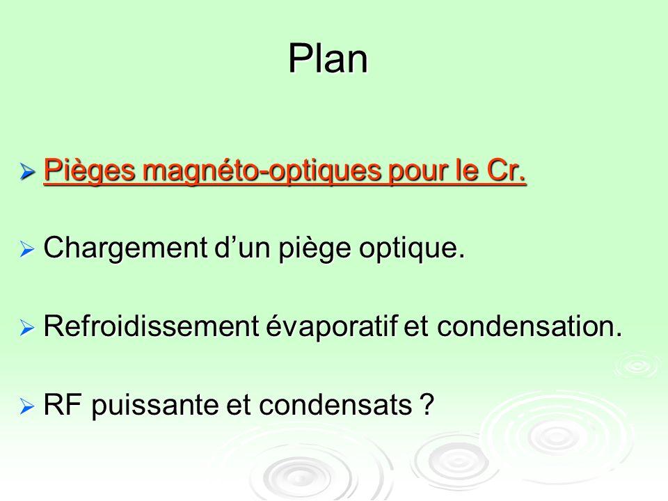 Plan Pièges magnéto-optiques pour le Cr.