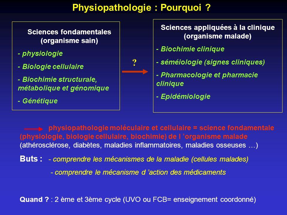 Sciences appliquées à la clinique (organisme malade)