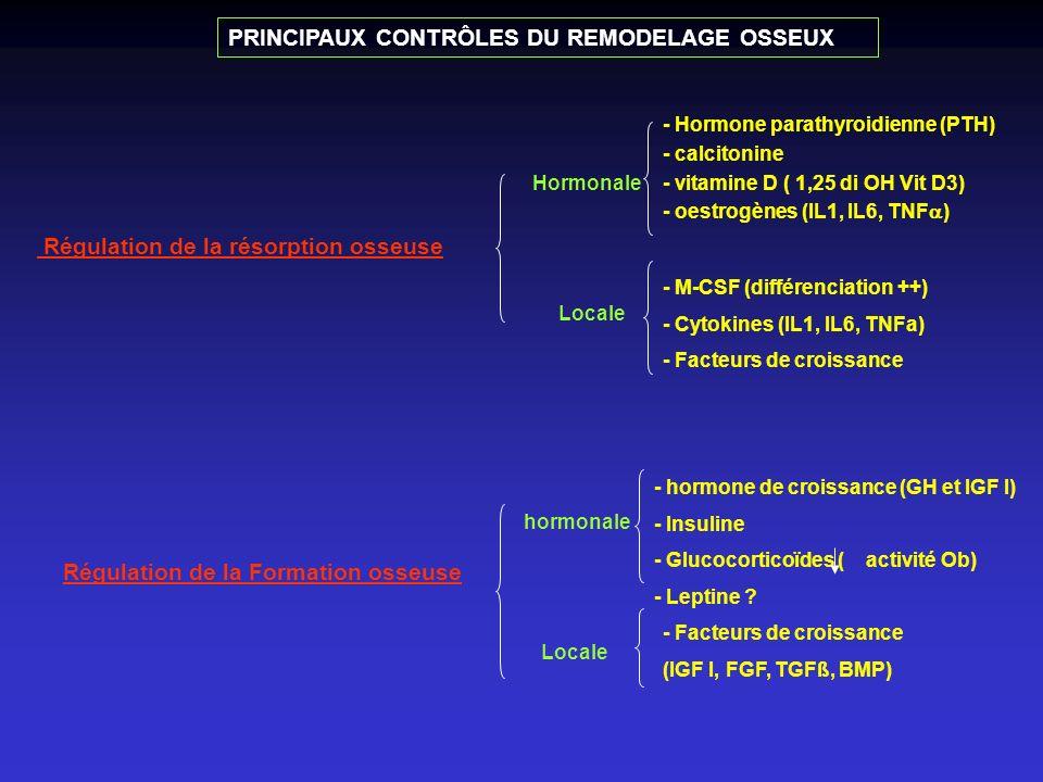 PRINCIPAUX CONTRÔLES DU REMODELAGE OSSEUX