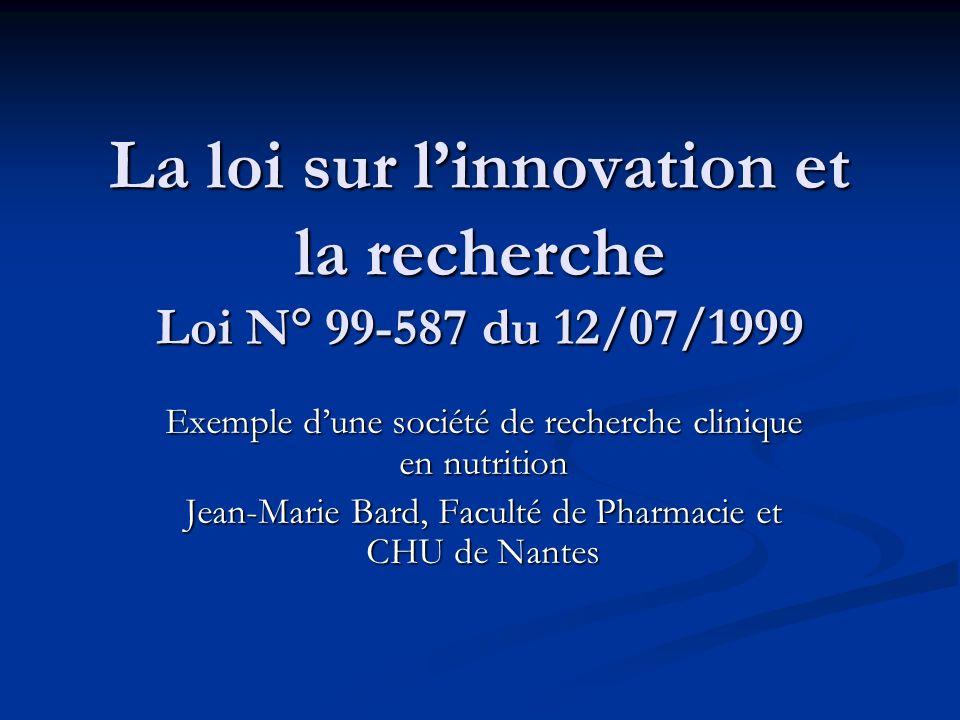 La loi sur l'innovation et la recherche Loi N° 99-587 du 12/07/1999