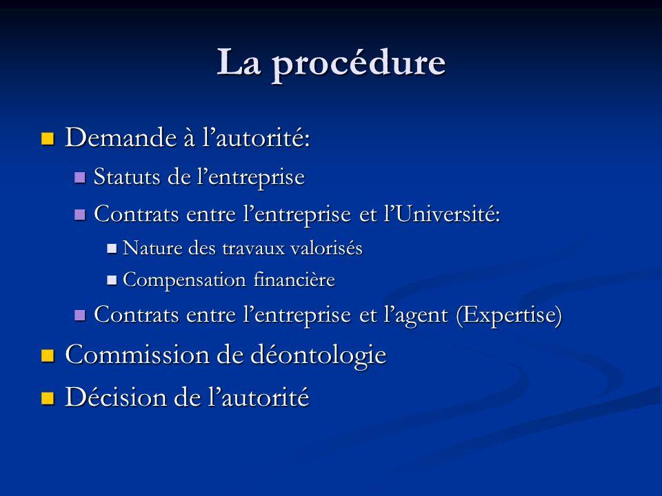 La procédure Demande à l'autorité: Commission de déontologie