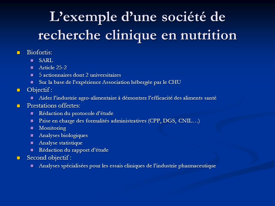 L'exemple d'une société de recherche clinique en nutrition
