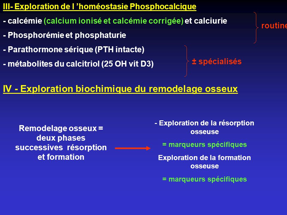 IV - Exploration biochimique du remodelage osseux