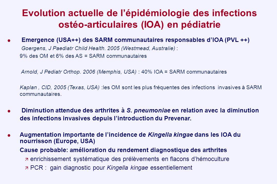 Evolution actuelle de l'épidémiologie des infections ostéo-articulaires (IOA) en pédiatrie