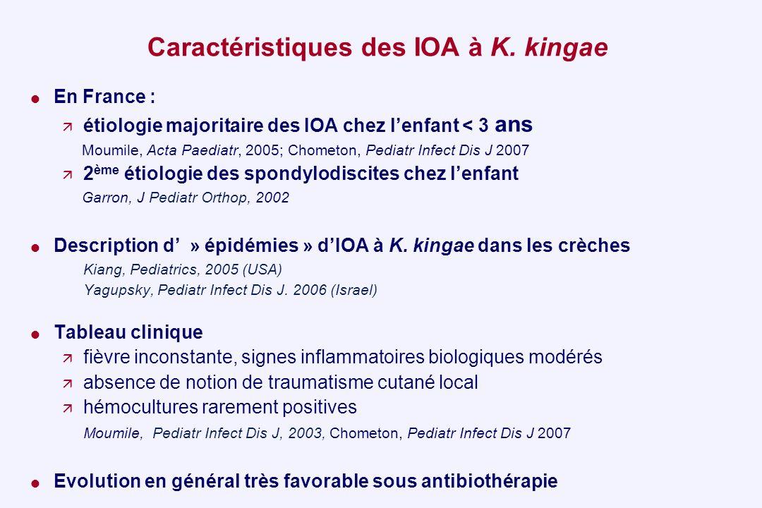 Caractéristiques des IOA à K. kingae