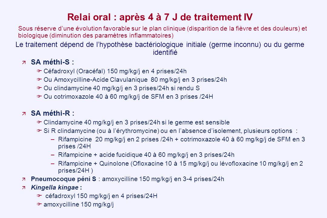 Relai oral : après 4 à 7 J de traitement IV