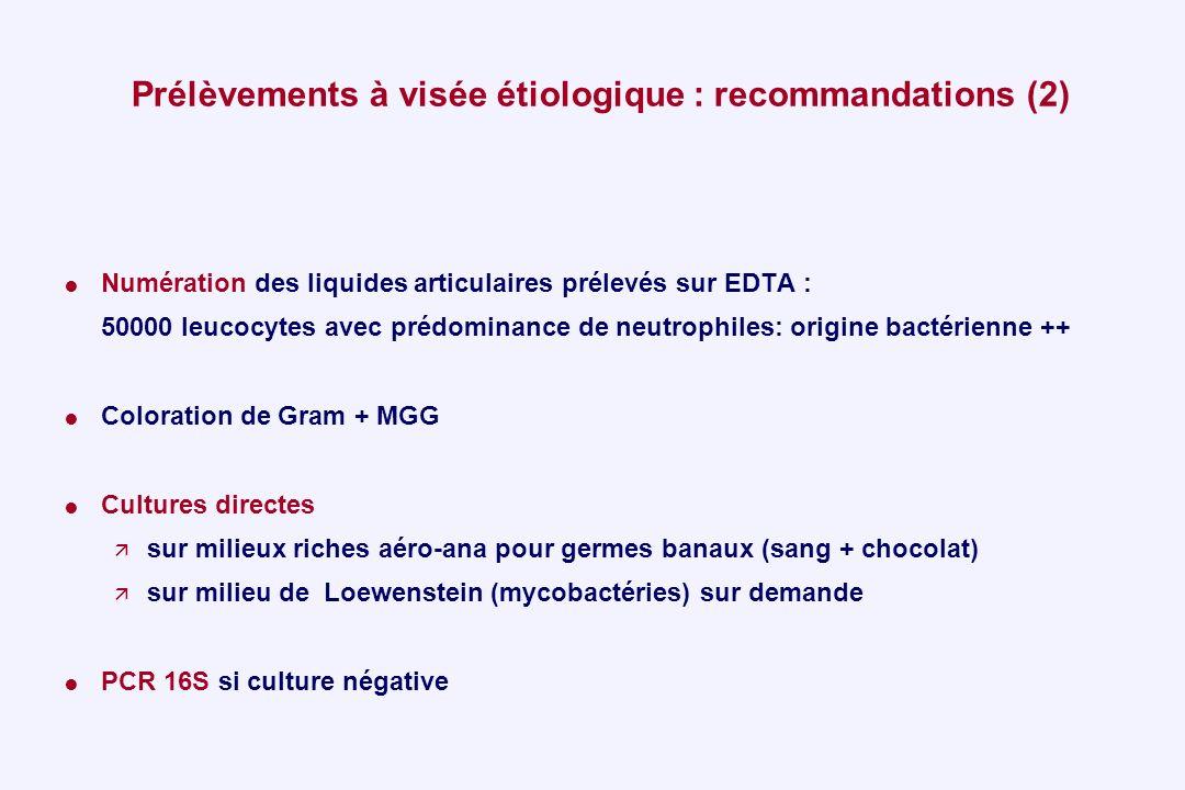Prélèvements à visée étiologique : recommandations (2)