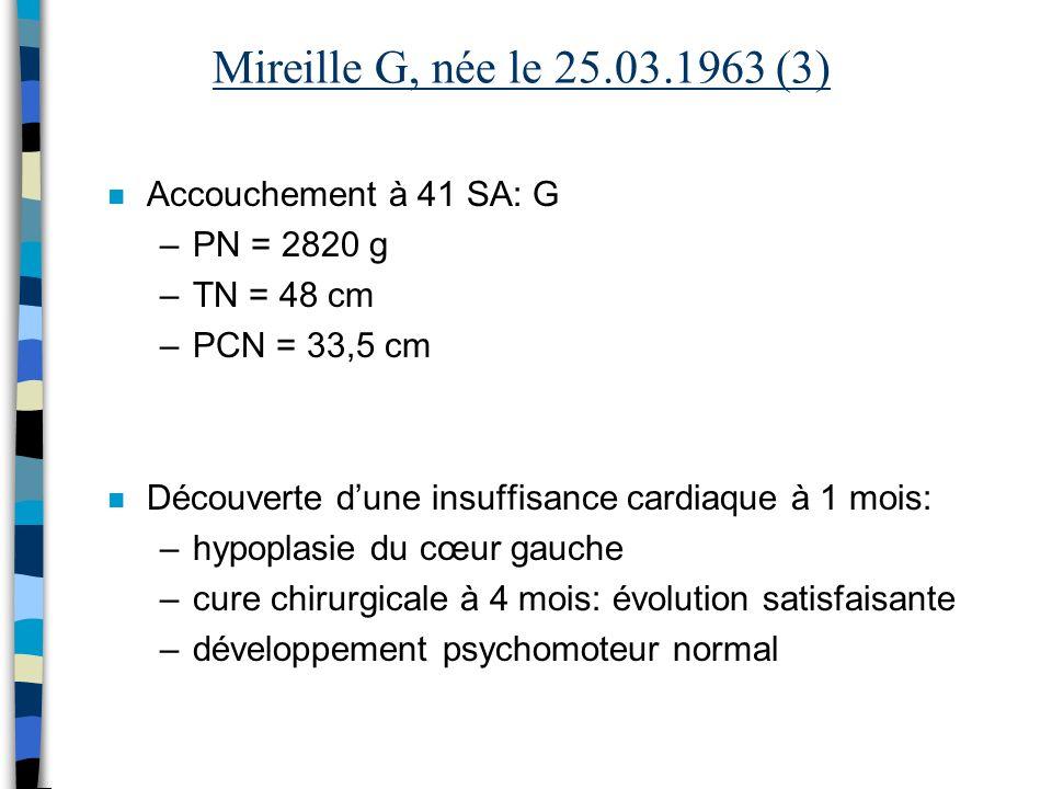 Mireille G, née le 25.03.1963 (3) Accouchement à 41 SA: G PN = 2820 g