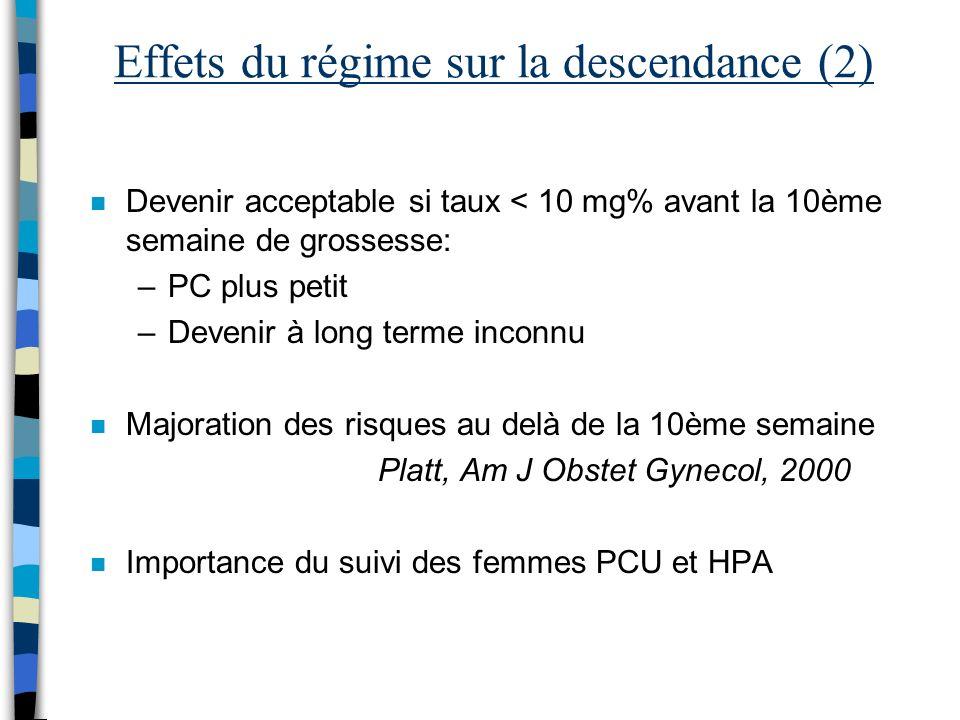 Effets du régime sur la descendance (2)