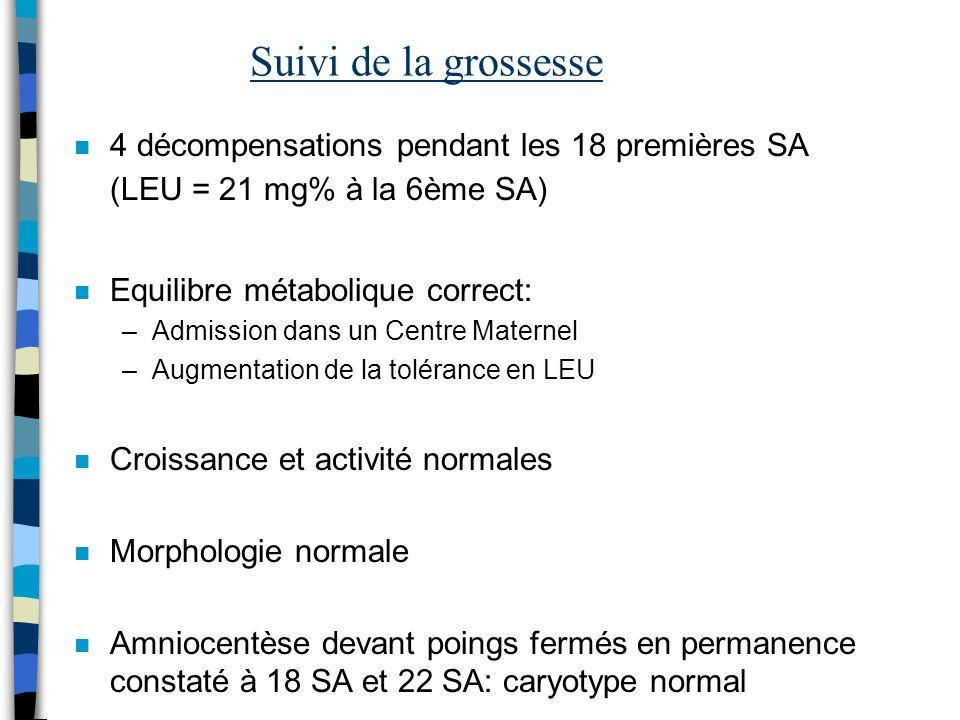 Suivi de la grossesse 4 décompensations pendant les 18 premières SA (LEU = 21 mg% à la 6ème SA) Equilibre métabolique correct: