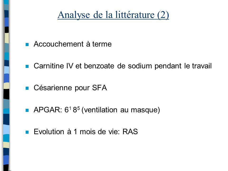 Analyse de la littérature (2)