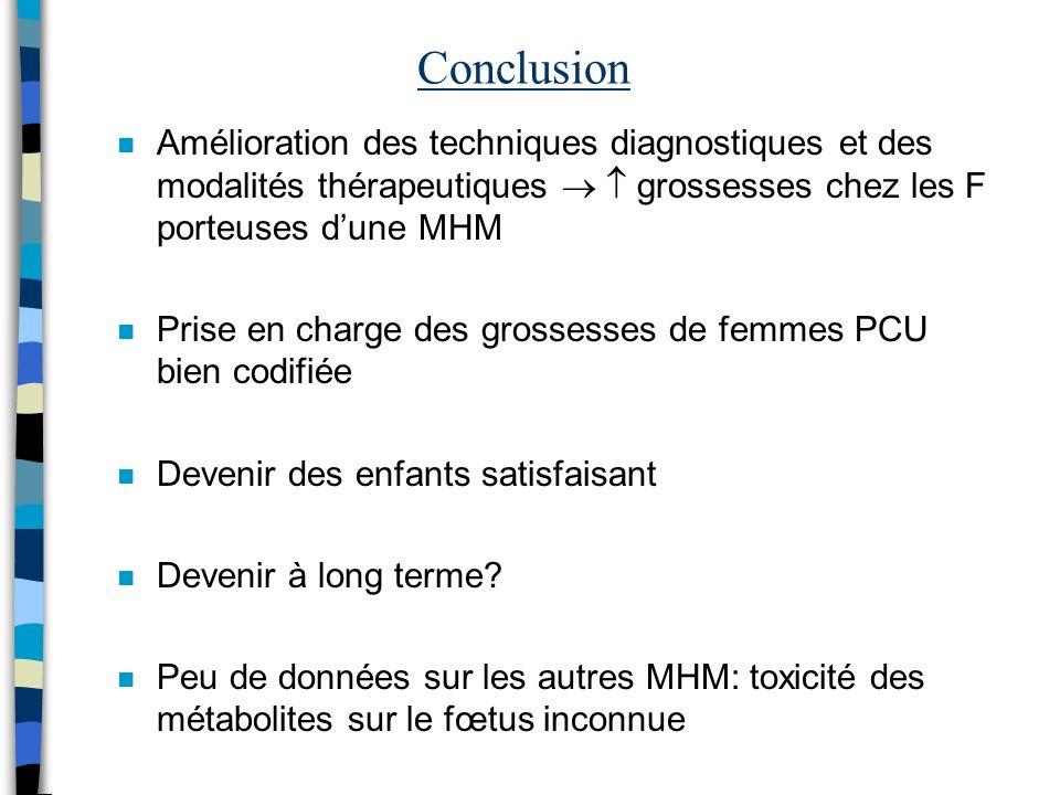 Conclusion Amélioration des techniques diagnostiques et des modalités thérapeutiques   grossesses chez les F porteuses d'une MHM.