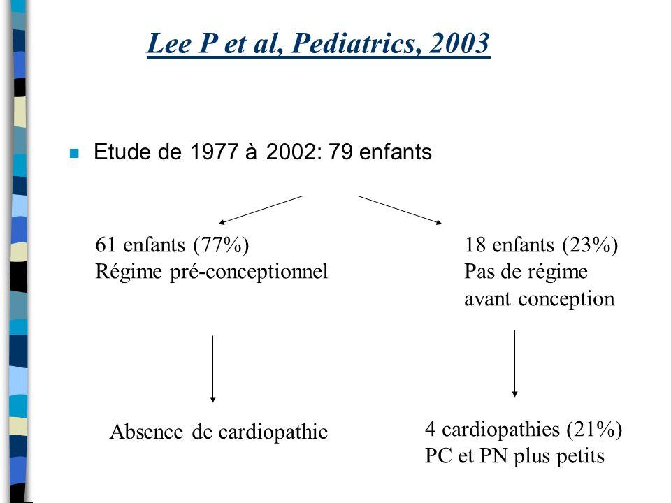 Lee P et al, Pediatrics, 2003 Etude de 1977 à 2002: 79 enfants