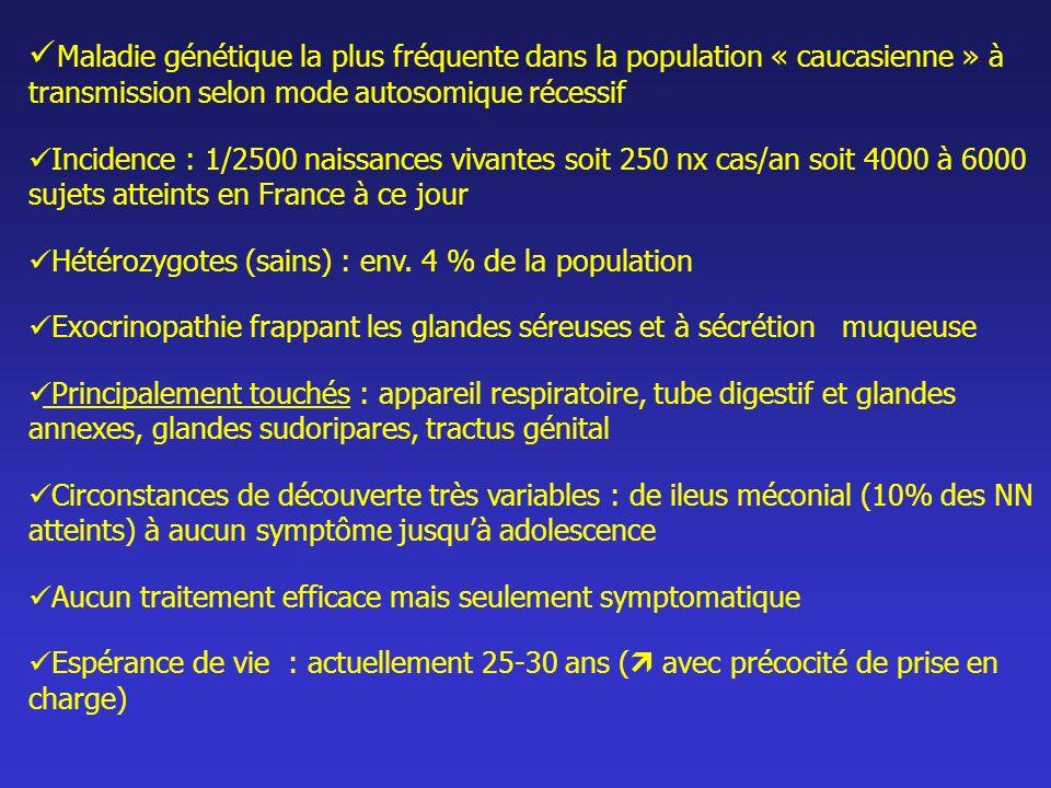Maladie génétique la plus fréquente dans la population « caucasienne » à transmission selon mode autosomique récessif