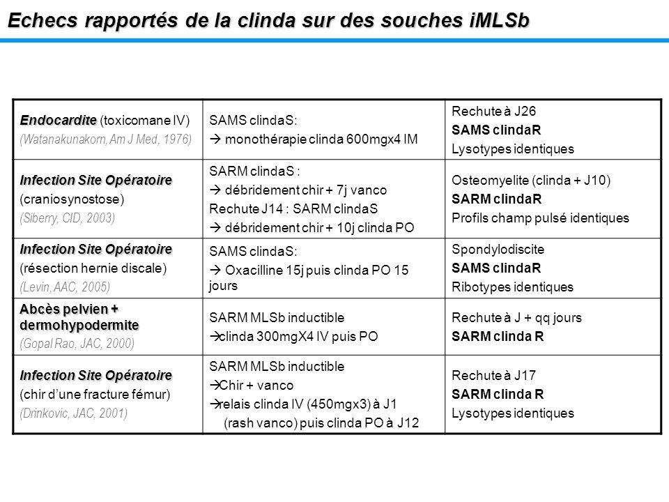 Echecs rapportés de la clinda sur des souches iMLSb