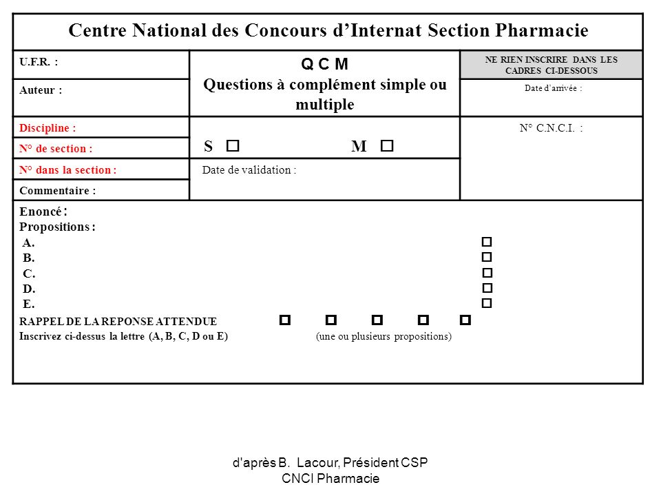 Centre National des Concours d'Internat Section Pharmacie