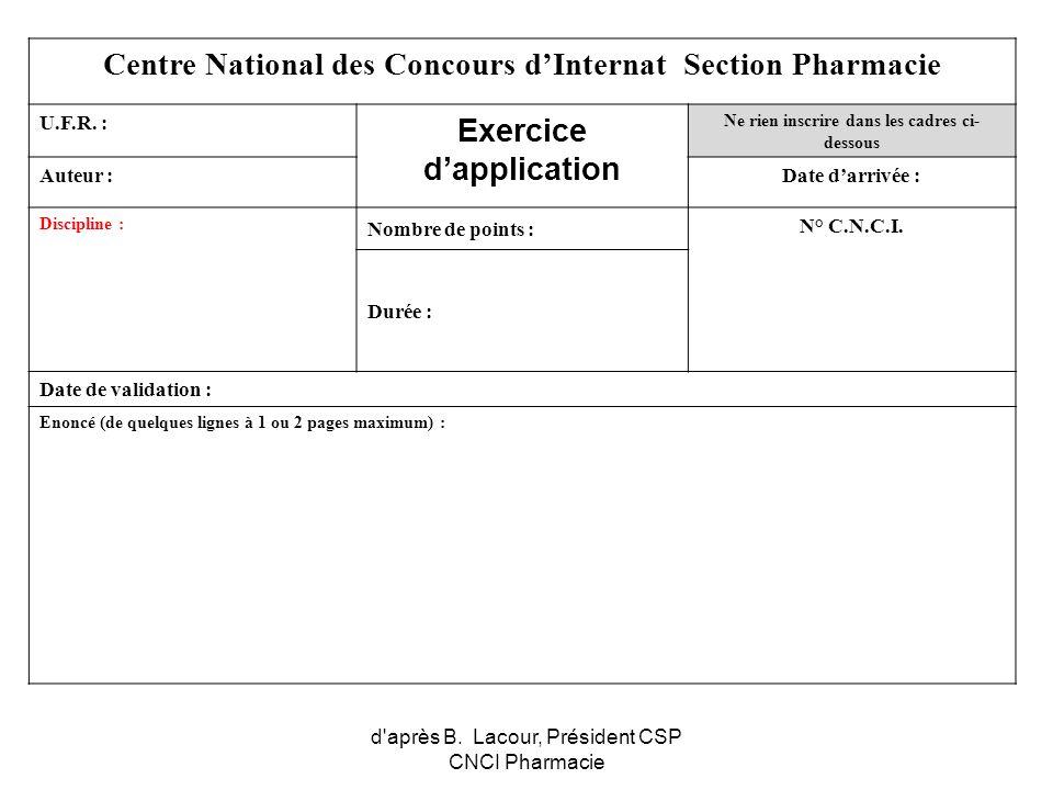 Centre National des Concours d'Internat Section Pharmacie Exercice